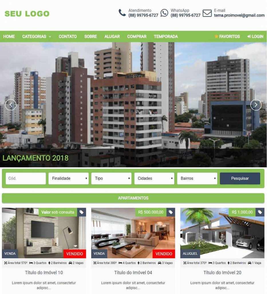 Layout do tema site para imobiliária